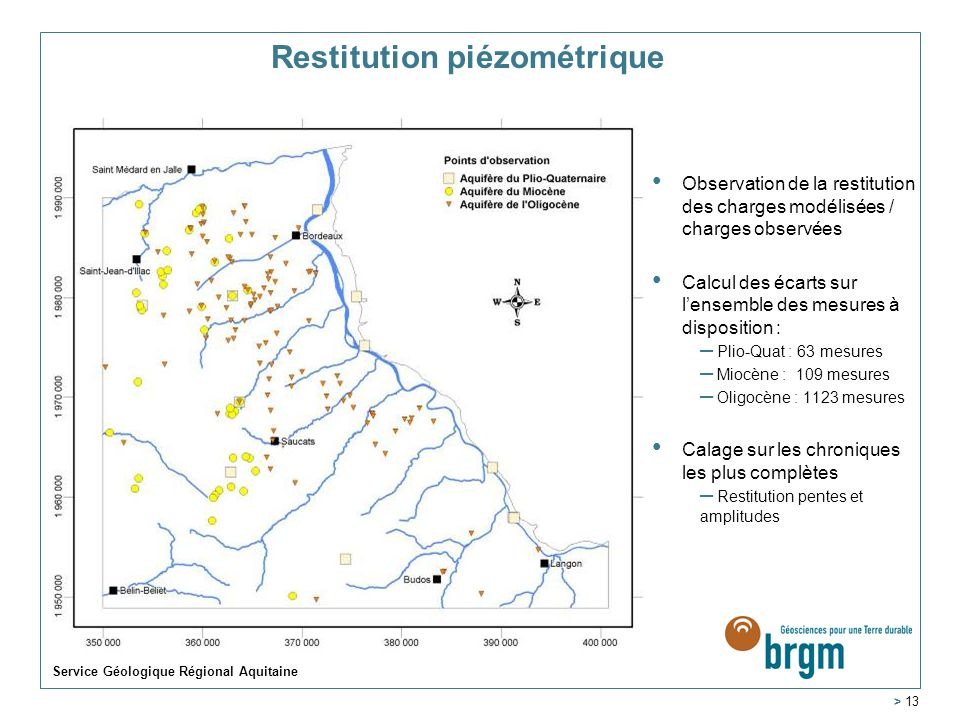 Service Géologique Régional Aquitaine > 13 Restitution piézométrique Observation de la restitution des charges modélisées / charges observées Calcul d