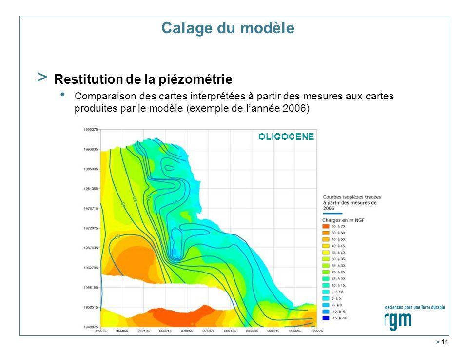 Service Géologique Régional Aquitaine > 14 MIOCENE Calage du modèle > Restitution de la piézométrie Comparaison des cartes interprétées à partir des mesures aux cartes produites par le modèle (exemple de lannée 2006) OLIGOCENE