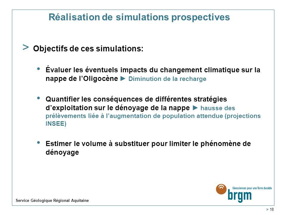 Service Géologique Régional Aquitaine > 18 Réalisation de simulations prospectives > Objectifs de ces simulations: Évaluer les éventuels impacts du ch