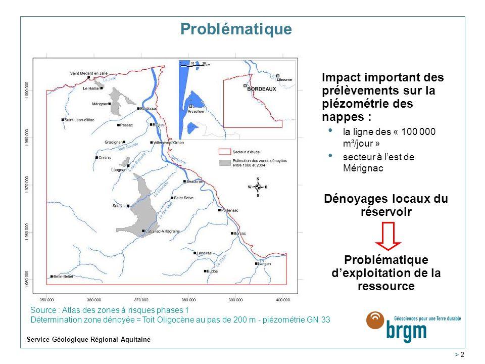 Service Géologique Régional Aquitaine > 2 Problématique Impact important des prélèvements sur la piézométrie des nappes : la ligne des « 100 000 m³/jour » secteur à lest de Mérignac Dénoyages locaux du réservoir Problématique dexploitation de la ressource Source : Atlas des zones à risques phases 1 Détermination zone dénoyée = Toit Oligocène au pas de 200 m - piézométrie GN 33