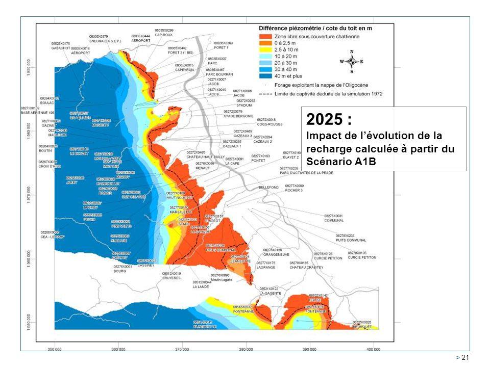 Service Géologique Régional Aquitaine > 21 2005 2025 : Impact de lévolution de la recharge calculée à partir du Scénario A1B
