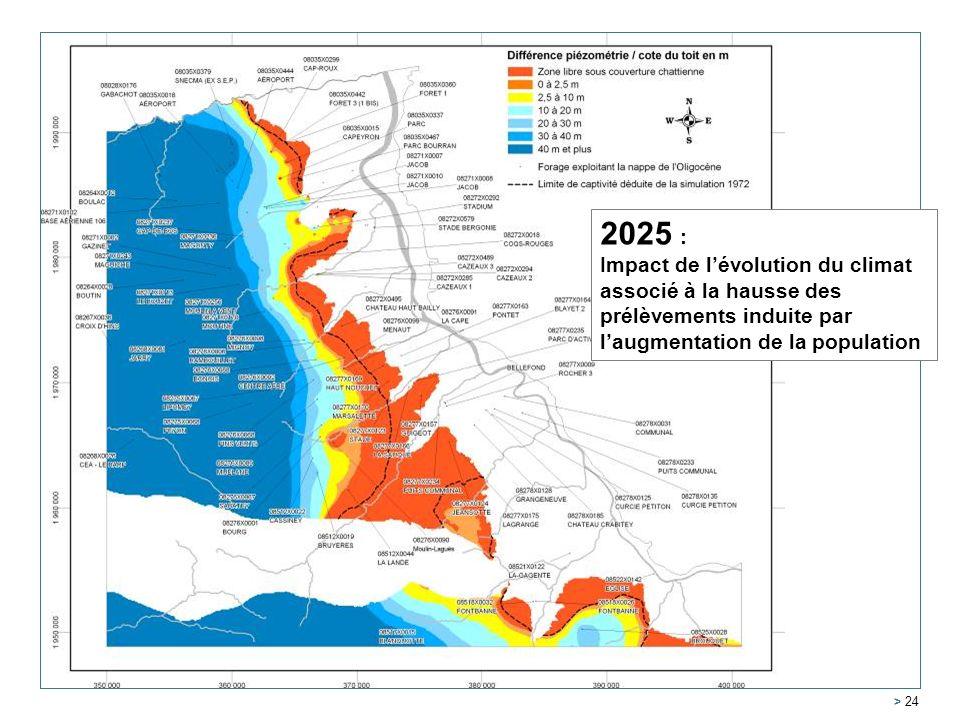 Service Géologique Régional Aquitaine > 24 2005 2025 : Impact de lévolution du climat associé à la hausse des prélèvements induite par laugmentation de la population