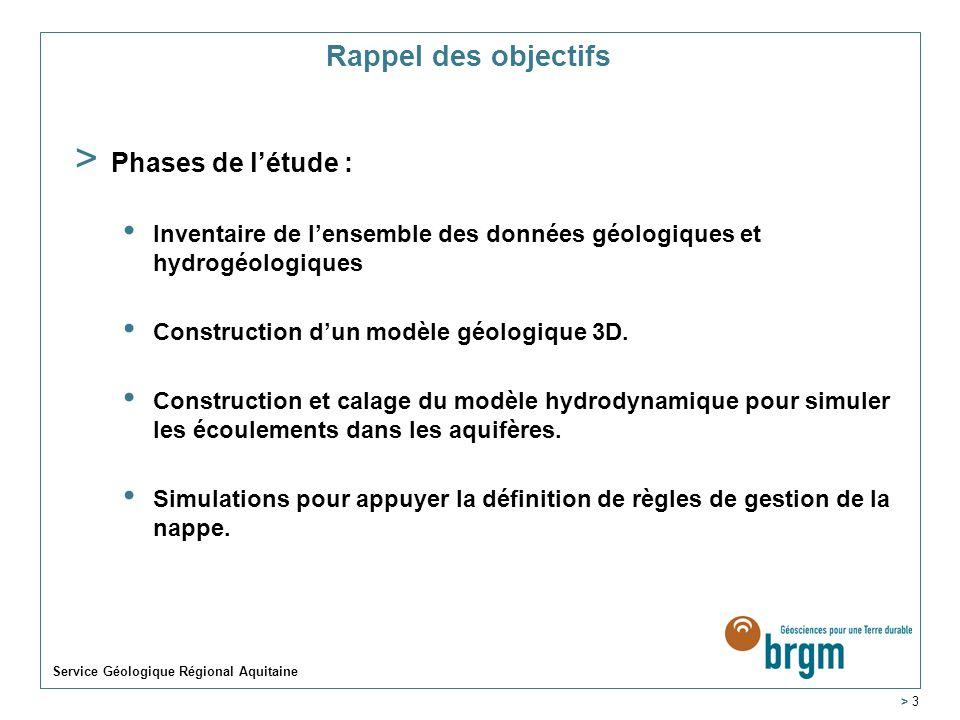 Service Géologique Régional Aquitaine > 3 Rappel des objectifs > Phases de létude : Inventaire de lensemble des données géologiques et hydrogéologiques Construction dun modèle géologique 3D.