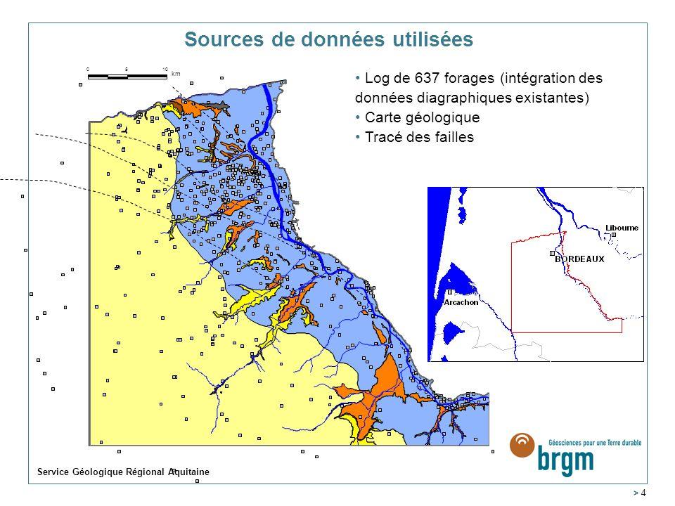 Service Géologique Régional Aquitaine > 4 ALUV REMI MIOC EPCM OLNP EPOL Carte géologique Log de 637 forages (intégration des données diagraphiques existantes) 5100 km Tracé des failles Sources de données utilisées