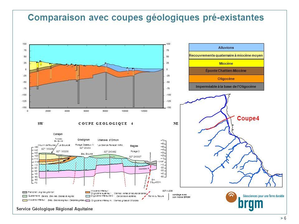 Service Géologique Régional Aquitaine > 6 Comparaison avec coupes géologiques pré-existantes Coupe4 Alluvions Recouvrements quaternaire à miocène moyen Miocène Éponte Chattien-Miocène Oligocène Imperméable à la base de lOligocène
