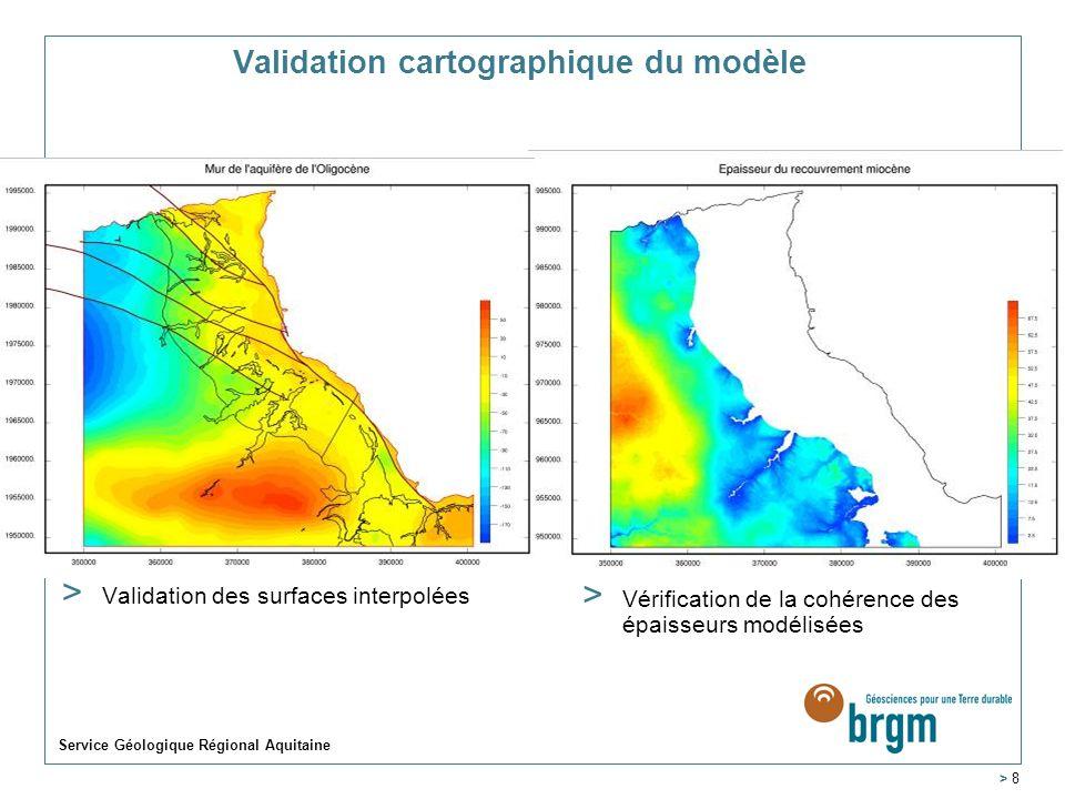 Service Géologique Régional Aquitaine > 8 Validation cartographique du modèle > Validation des surfaces interpolées > Vérification de la cohérence des épaisseurs modélisées