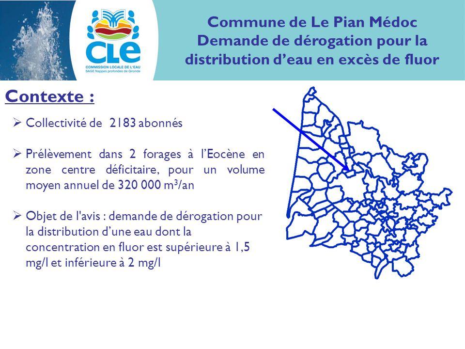 Contexte : Collectivité de 2183 abonnés Prélèvement dans 2 forages à lEocène en zone centre déficitaire, pour un volume moyen annuel de 320 000 m 3 /an Objet de l avis : demande de dérogation pour la distribution dune eau dont la concentration en fluor est supérieure à 1,5 mg/l et inférieure à 2 mg/l Commune de Le Pian Médoc Demande de dérogation pour la distribution deau en excès de fluor