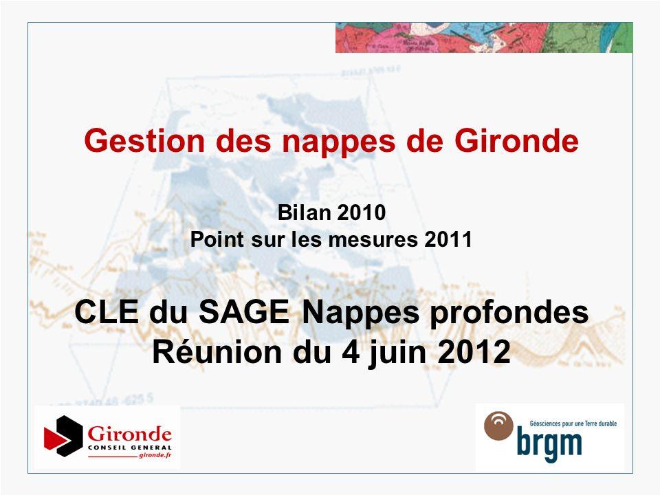 Gestion des nappes de Gironde Bilan 2010 Point sur les mesures 2011 CLE du SAGE Nappes profondes Réunion du 4 juin 2012