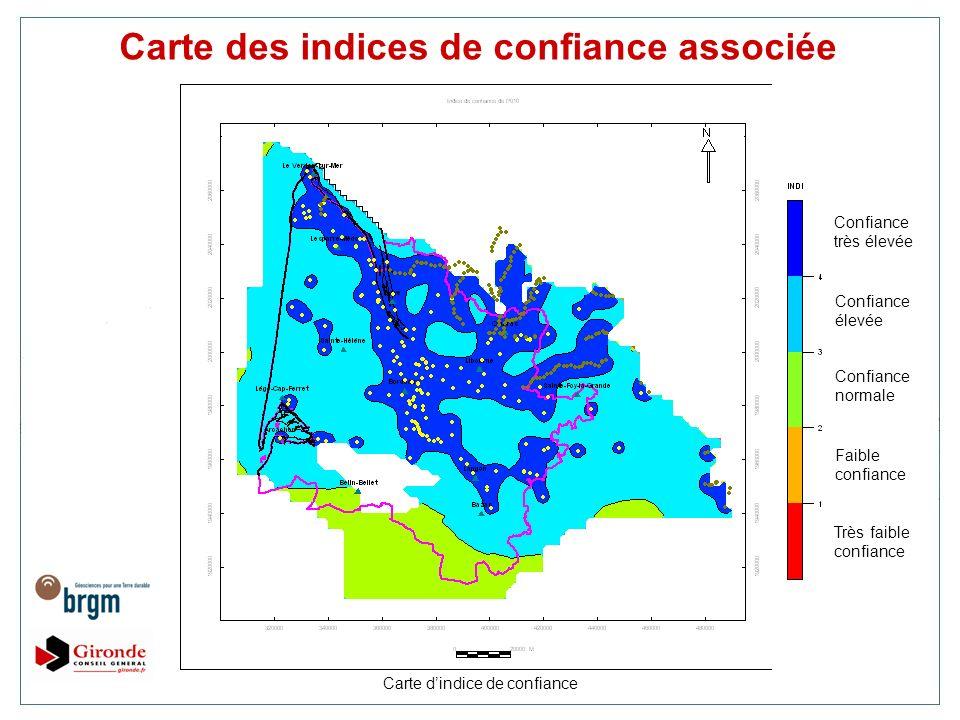Carte dindice de confiance Carte des indices de confiance associée Confiance très élevée Confiance élevée Confiance normale Faible confiance Très faib
