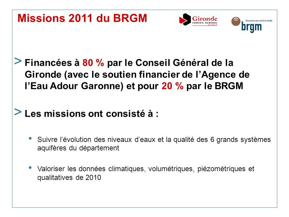 Missions 2011 du BRGM > Financées à 80 % par le Conseil Général de la Gironde (avec le soutien financier de lAgence de lEau Adour Garonne) et pour 20