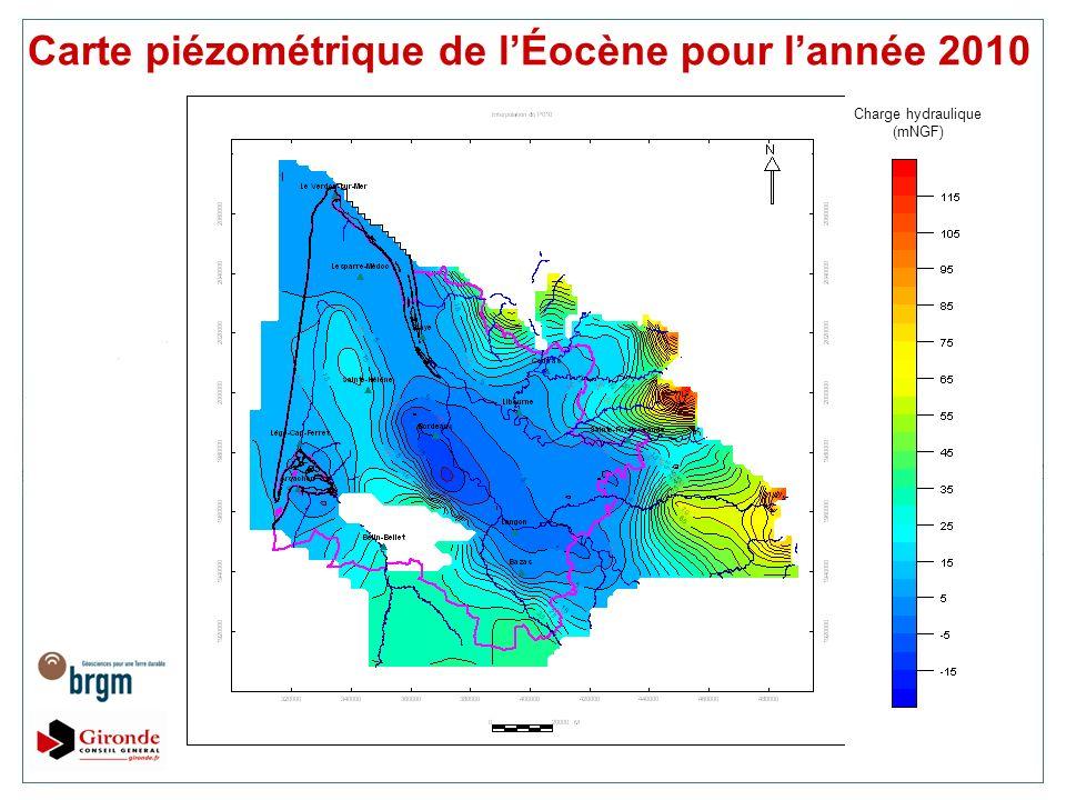 Carte piézométrique de lÉocène pour lannée 2010 Charge hydraulique (mNGF)