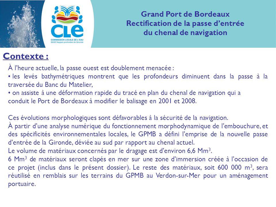 Contexte : À lheure actuelle, la passe ouest est doublement menacée : les levés bathymétriques montrent que les profondeurs diminuent dans la passe à la traversée du Banc du Matelier, on assiste à une déformation rapide du tracé en plan du chenal de navigation qui a conduit le Port de Bordeaux à modifier le balisage en 2001 et 2008.