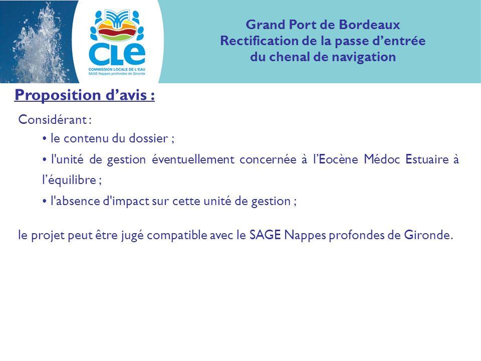 Proposition davis : Considérant : le contenu du dossier ; l unité de gestion éventuellement concernée à lEocène Médoc Estuaire à léquilibre ; l absence d impact sur cette unité de gestion ; le projet peut être jugé compatible avec le SAGE Nappes profondes de Gironde.