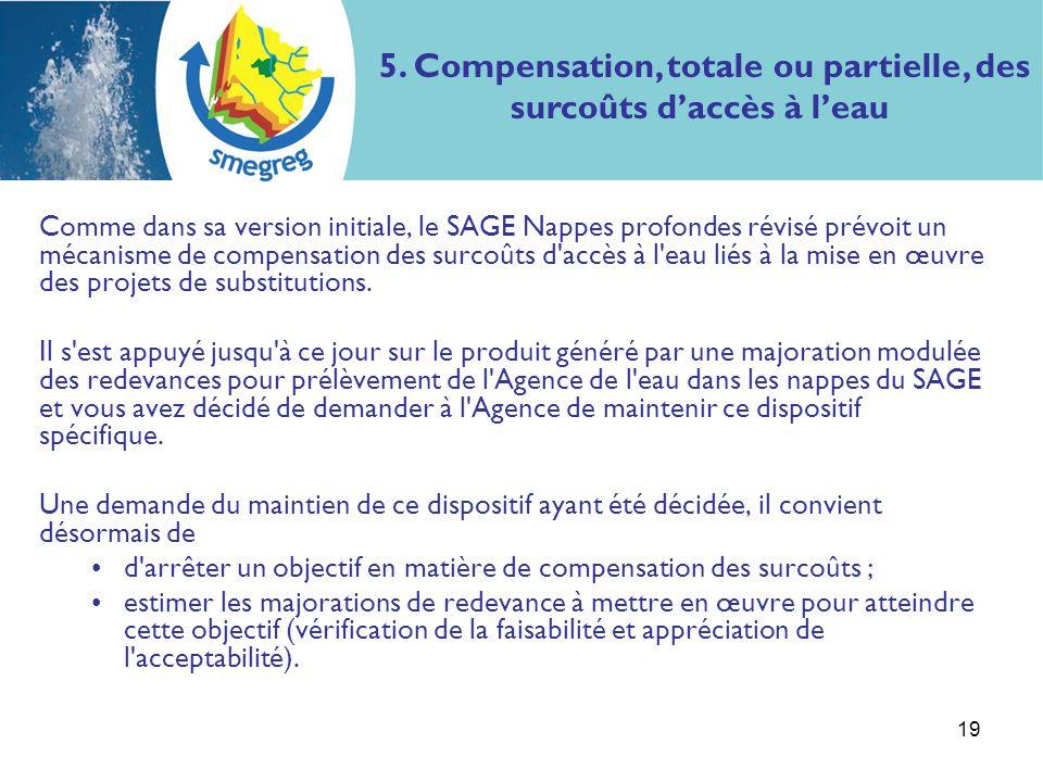 19 Comme dans sa version initiale, le SAGE Nappes profondes révisé prévoit un mécanisme de compensation des surcoûts d'accès à l'eau liés à la mise en