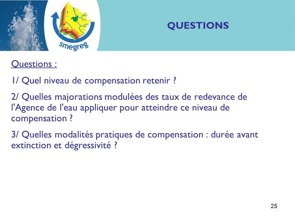 25 Questions : 1/ Quel niveau de compensation retenir ? 2/ Quelles majorations modulées des taux de redevance de l'Agence de l'eau appliquer pour atte