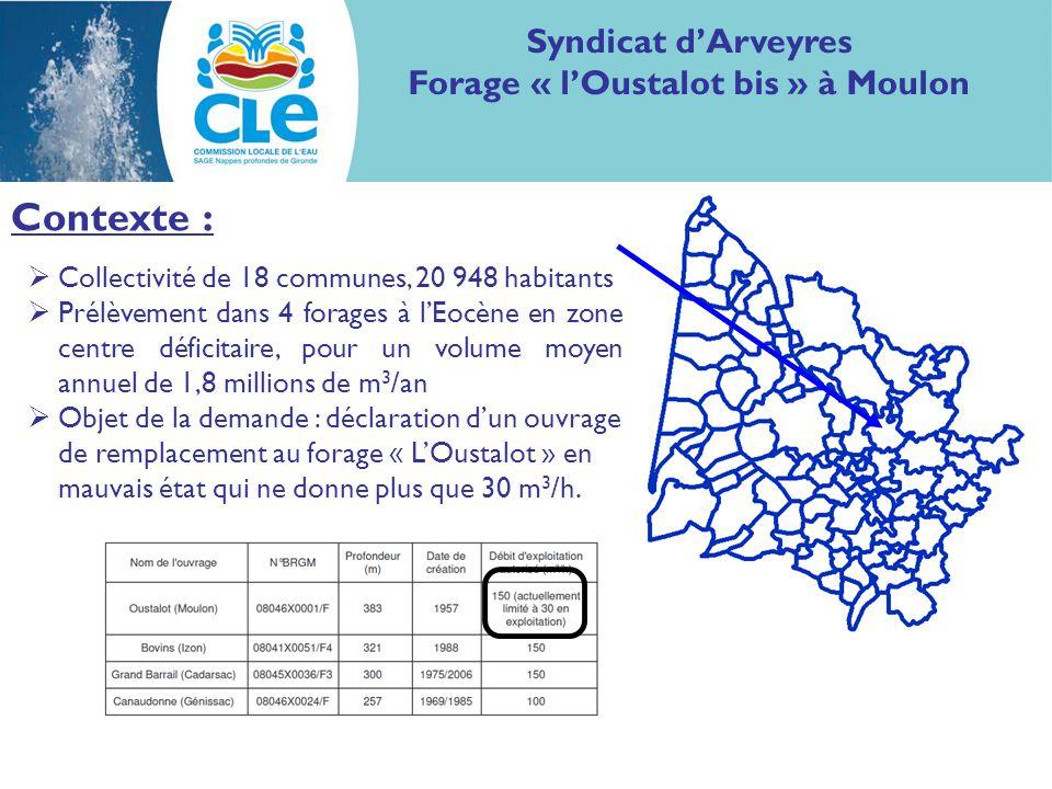 Etude diagnostique: Syndicat dArveyres Forage « lOustalot bis » à Moulon Le syndicat a procédé à une sectorisation préalable à létude diagnostique, permettant le suivi de 10 secteurs.
