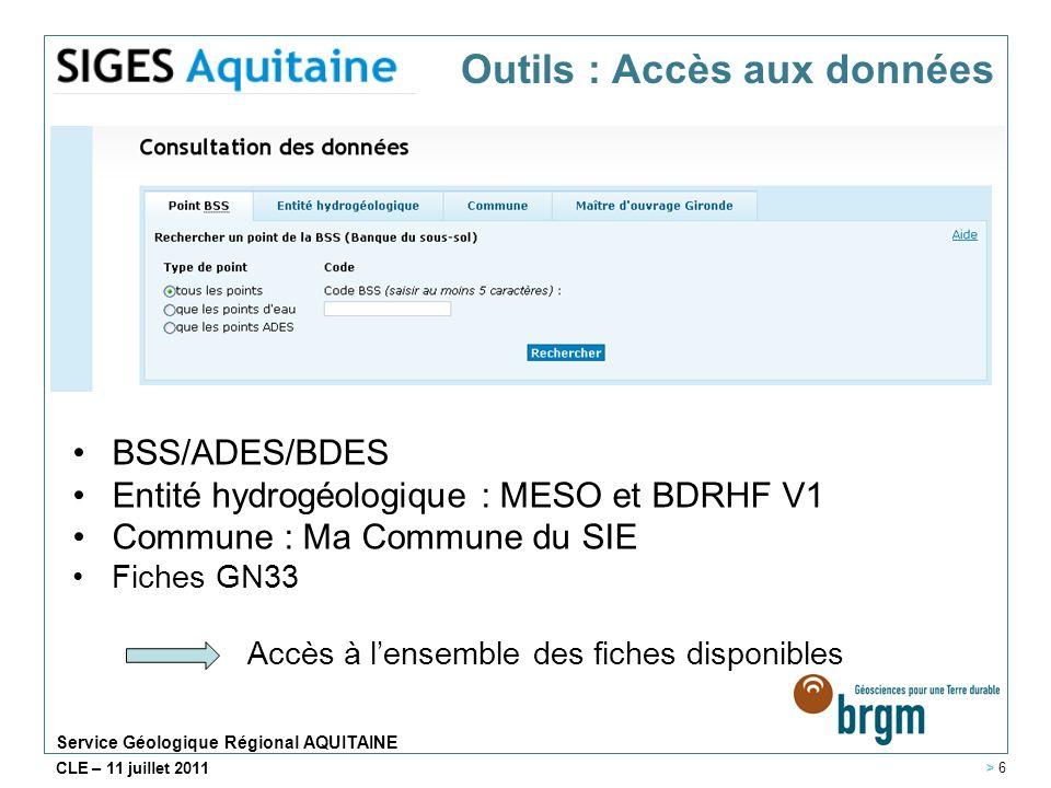 Service Géologique Régional AQUITAINE CLE – 11 juillet 2011 BSS/ADES/BDES Entité hydrogéologique : MESO et BDRHF V1 Commune : Ma Commune du SIE Fiches