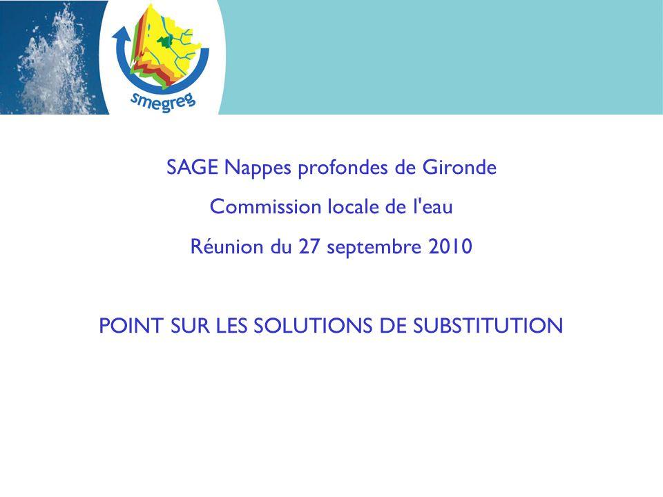 SAGE Nappes profondes de Gironde Commission locale de l'eau Réunion du 27 septembre 2010 POINT SUR LES SOLUTIONS DE SUBSTITUTION