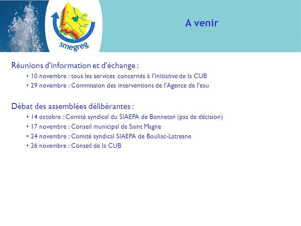 Réunions d'information et d'échange : 10 novembre : tous les services concernés à l'initiative de la CUB 29 novembre : Commission des interventions de