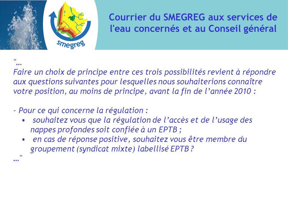 Courrier du SMEGREG aux services de l'eau concernés et au Conseil général