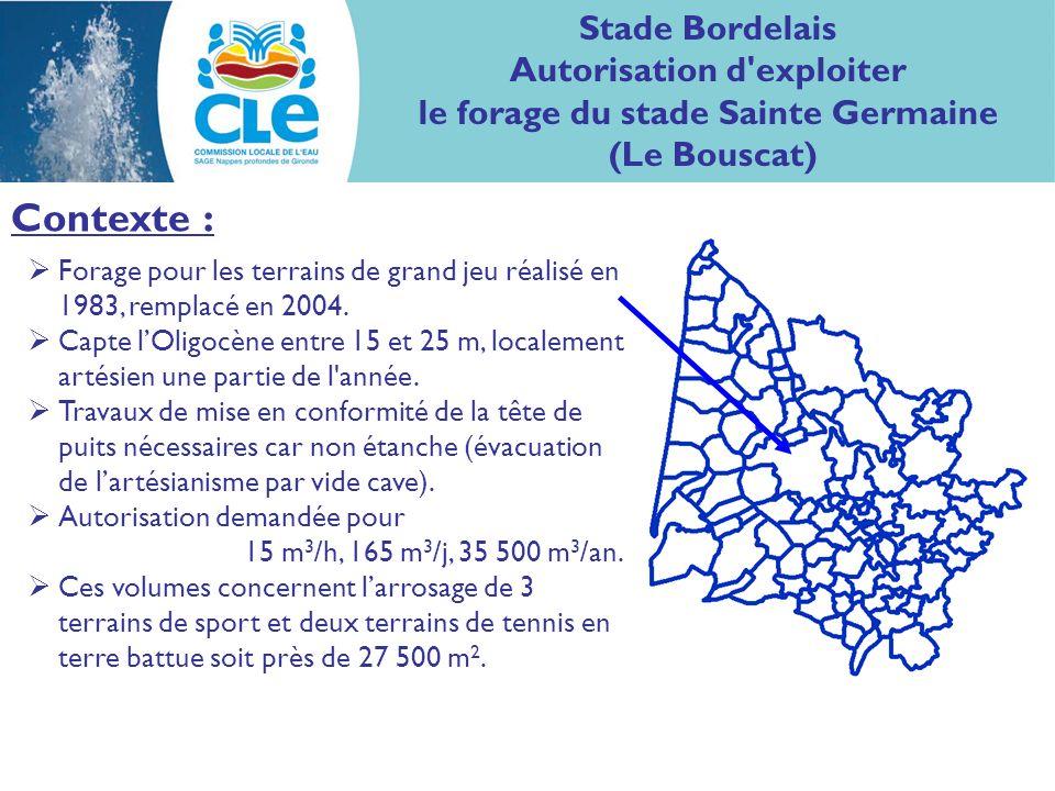 Contexte : Stade Bordelais Autorisation d exploiter le forage du stade Sainte Germaine (Le Bouscat) Forage pour les terrains de grand jeu réalisé en 1983, remplacé en 2004.