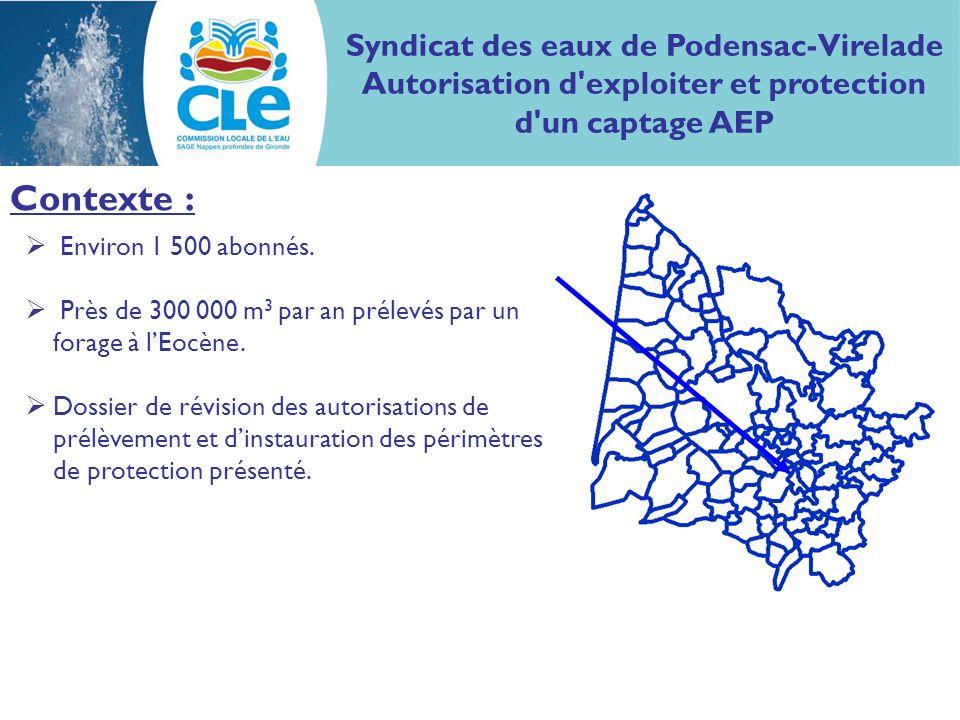 Syndicat des eaux de Podensac-Virelade Autorisation d'exploiter et protection d'un captage AEP Contexte : Environ 1 500 abonnés. Près de 300 000 m 3 p