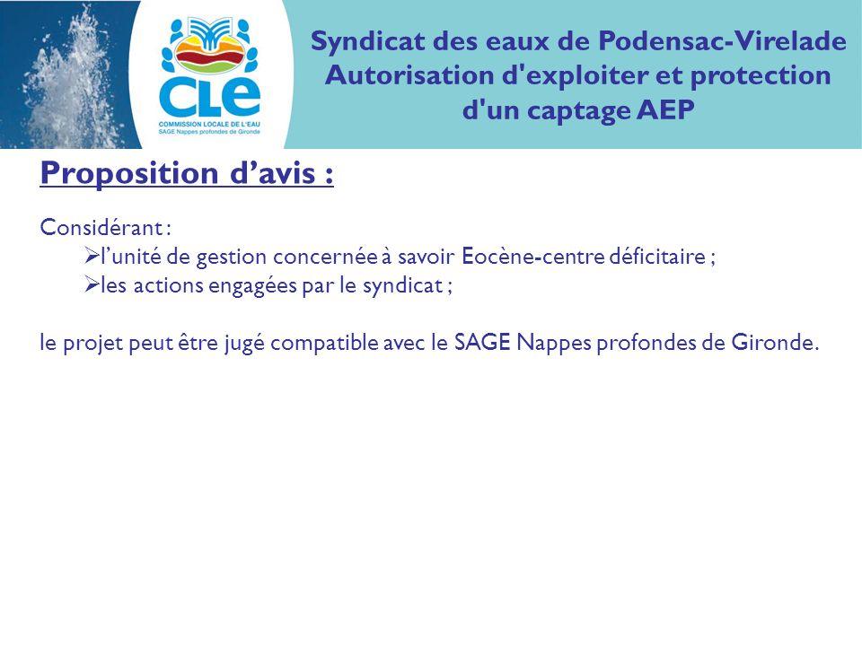 Proposition davis : Considérant : lunité de gestion concernée à savoir Eocène-centre déficitaire ; les actions engagées par le syndicat ; le projet pe