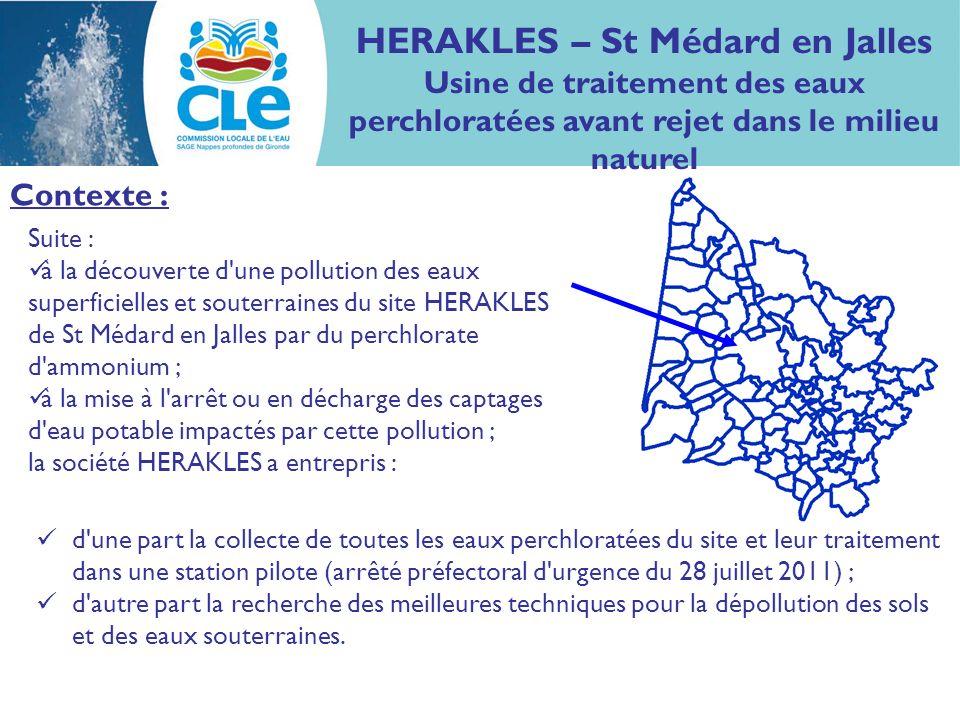 Suite : à la découverte d'une pollution des eaux superficielles et souterraines du site HERAKLES de St Médard en Jalles par du perchlorate d'ammonium