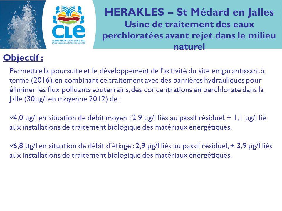 HERAKLES – St Médard en Jalles Usine de traitement des eaux perchloratées avant rejet dans le milieu naturel Permettre la poursuite et le développemen