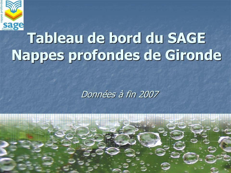 Tableau de bord du SAGE Nappes profondes de Gironde Données à fin 2007