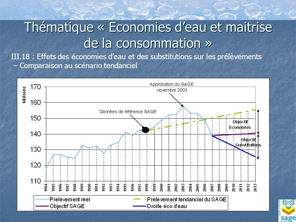 Thématique « Economies deau et maitrise de la consommation » III.18 : Effets des économies deau et des substitutions sur les prélèvements – Comparaison au scénario tendanciel