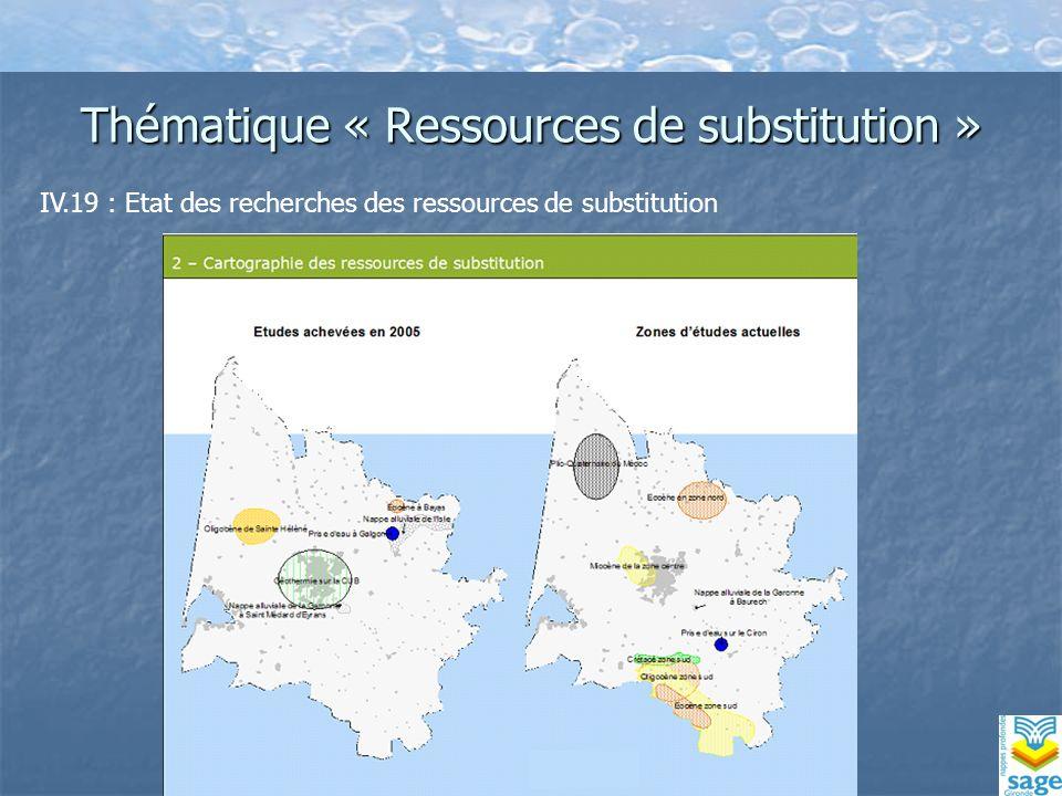 Thématique « Ressources de substitution » IV.19 : Etat des recherches des ressources de substitution
