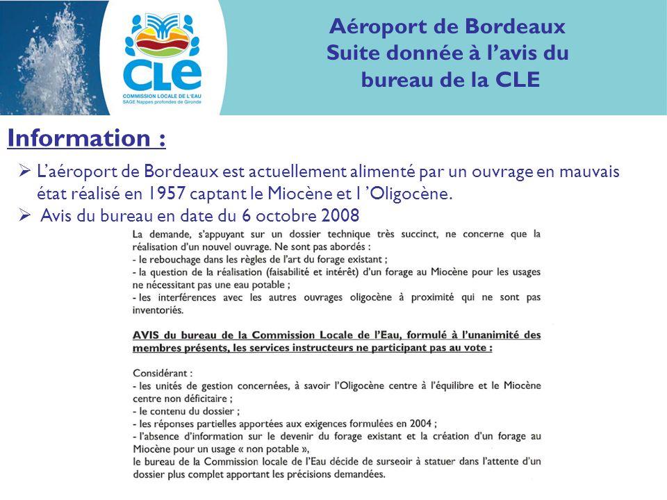 Aéroport de Bordeaux Suite donnée à lavis du bureau de la CLE Information : Laéroport de Bordeaux est actuellement alimenté par un ouvrage en mauvais état réalisé en 1957 captant le Miocène et l Oligocène.