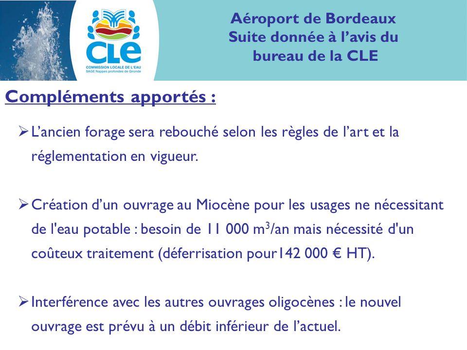 Aéroport de Bordeaux Suite donnée à lavis du bureau de la CLE Compléments apportés : Lancien forage sera rebouché selon les règles de lart et la régle