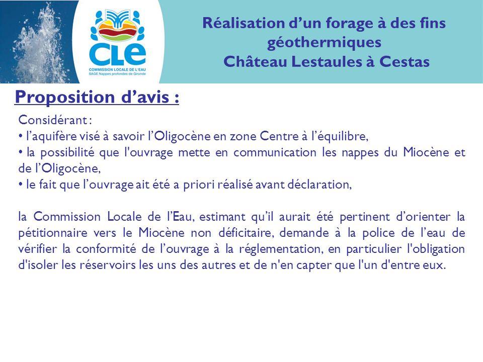 Proposition davis : Considérant : laquifère visé à savoir lOligocène en zone Centre à léquilibre, la possibilité que l'ouvrage mette en communication