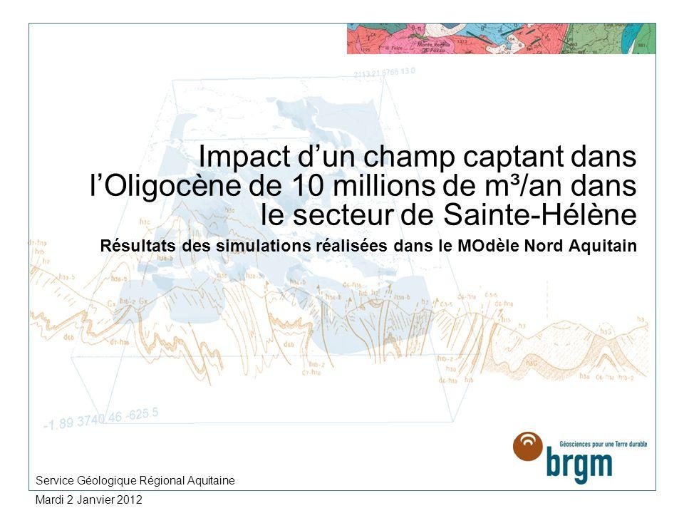 Impact dun champ captant dans lOligocène de 10 millions de m³/an dans le secteur de Sainte-Hélène Résultats des simulations réalisées dans le MOdèle N