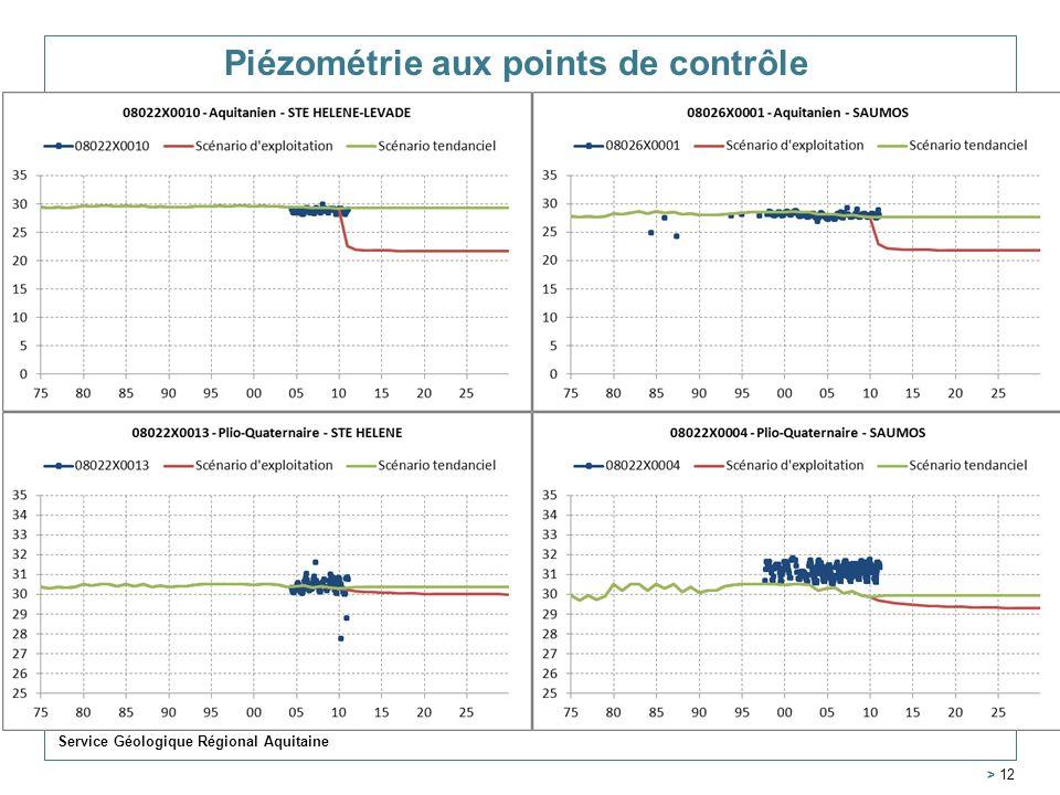 Piézométrie aux points de contrôle Service Géologique Régional Aquitaine > 12