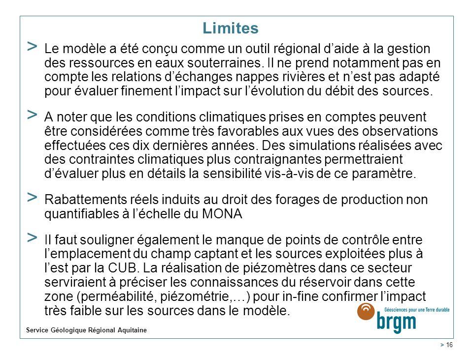 Limites > Le modèle a été conçu comme un outil régional daide à la gestion des ressources en eaux souterraines. Il ne prend notamment pas en compte le