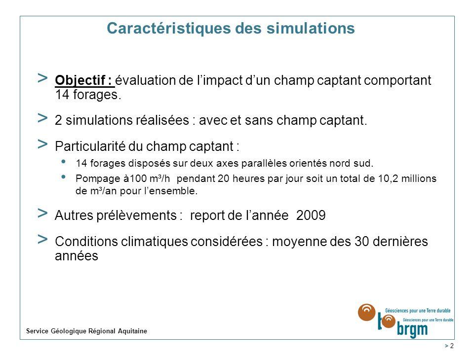 Caractéristiques des simulations > Objectif : évaluation de limpact dun champ captant comportant 14 forages. > 2 simulations réalisées : avec et sans