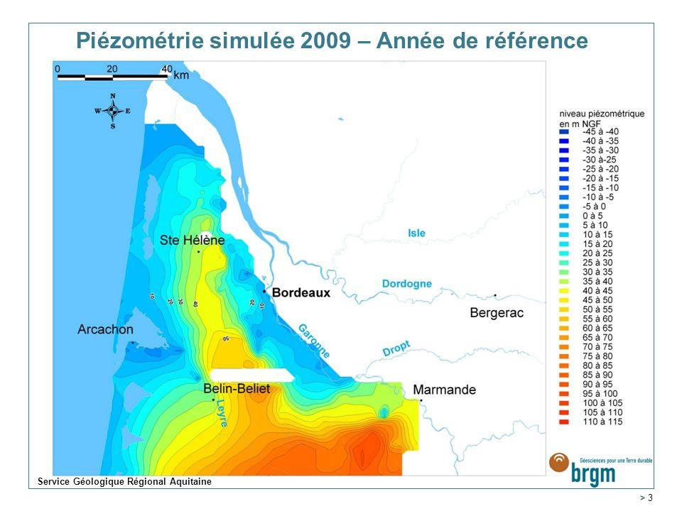 Piézométrie simulée 2009 – Année de référence > 3 Service Géologique Régional Aquitaine