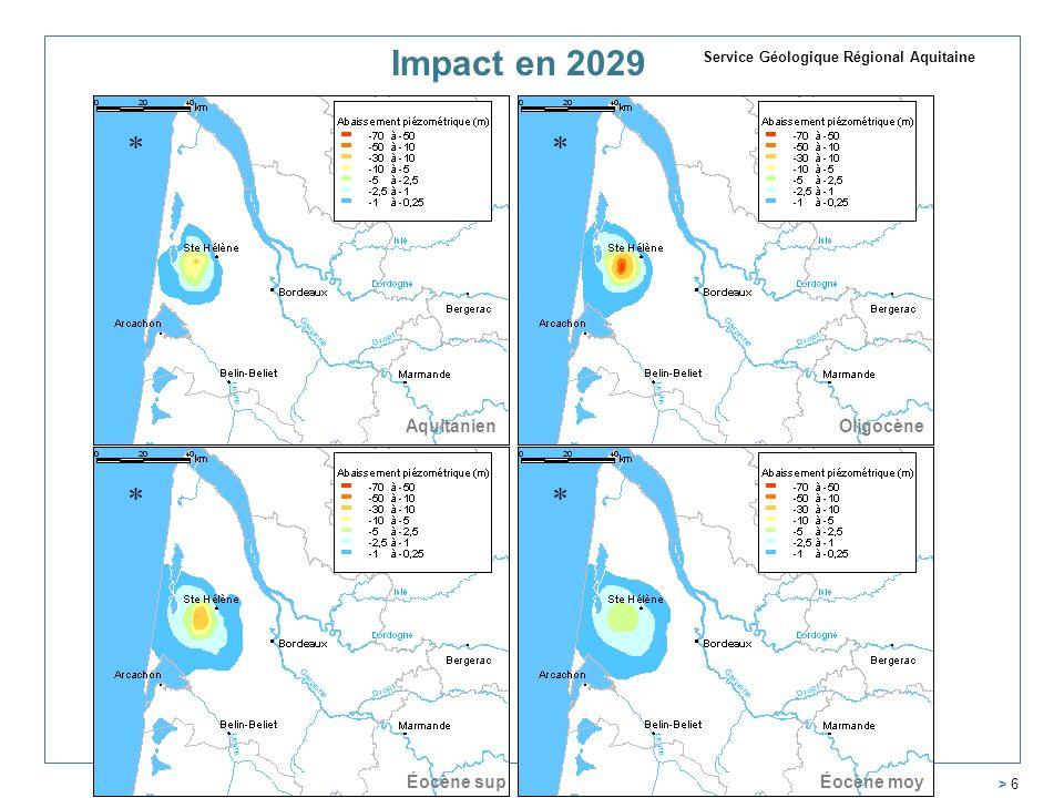 > 6 AquitanienOligocène Éocène moyÉocène sup Impact en 2029 Service Géologique Régional Aquitaine
