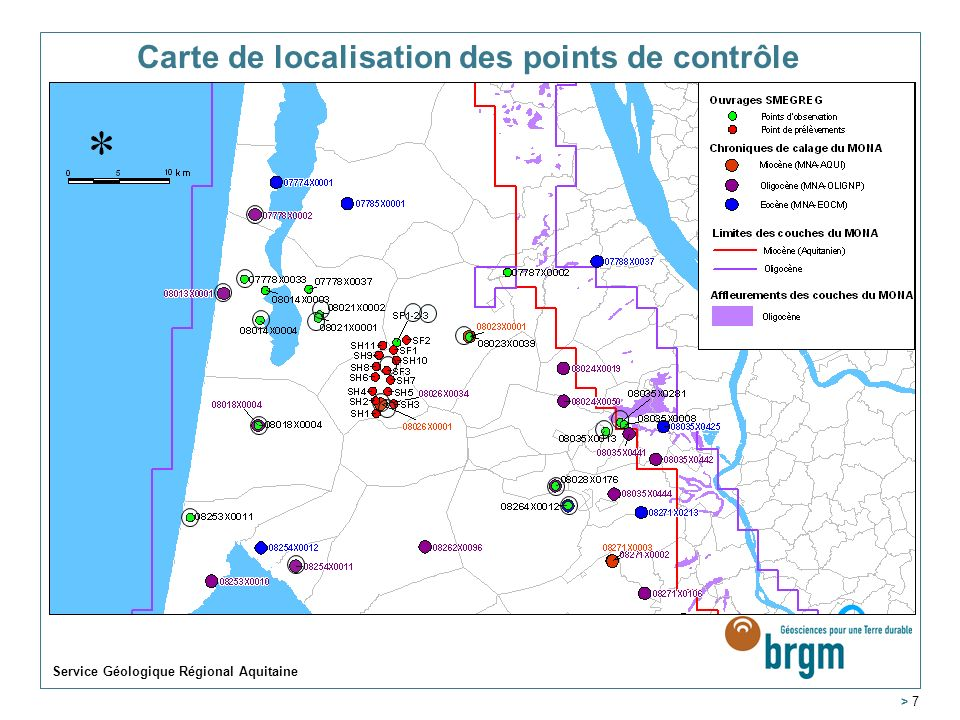 Carte de localisation des points de contrôle Service Géologique Régional Aquitaine > 7