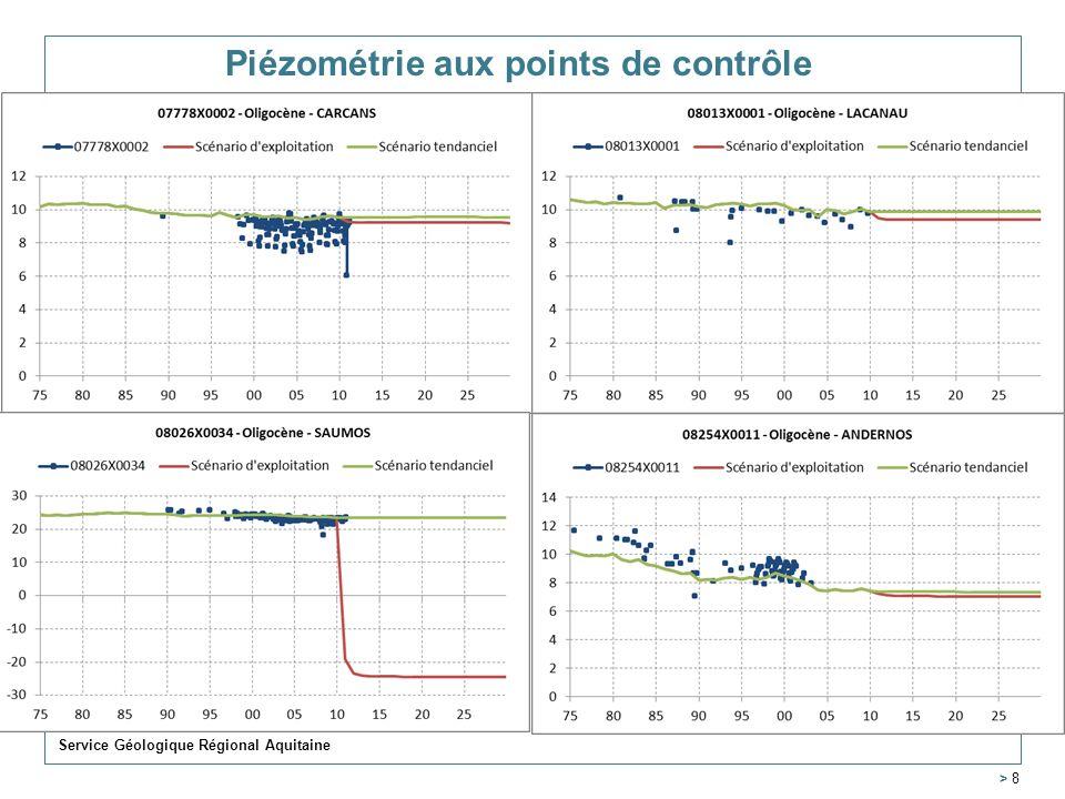 Piézométrie aux points de contrôle Service Géologique Régional Aquitaine > 8