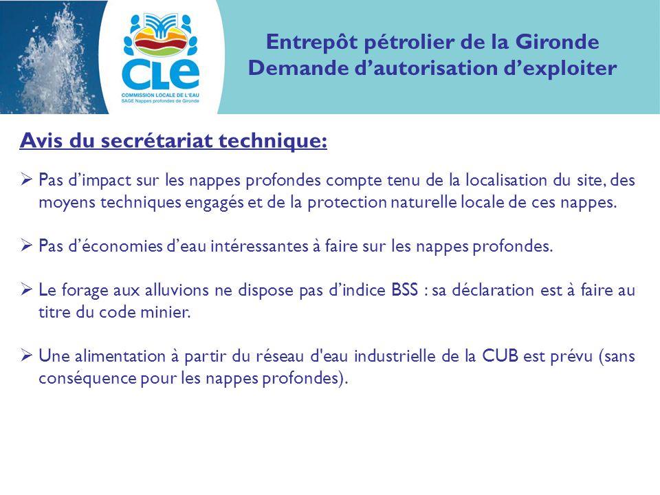 Proposition davis : Considérant le contenu de létude dimpact, et l absence d impact sur les nappes profondes, le dossier peut être jugé compatible avec le SAGE nappes profondes de Gironde.