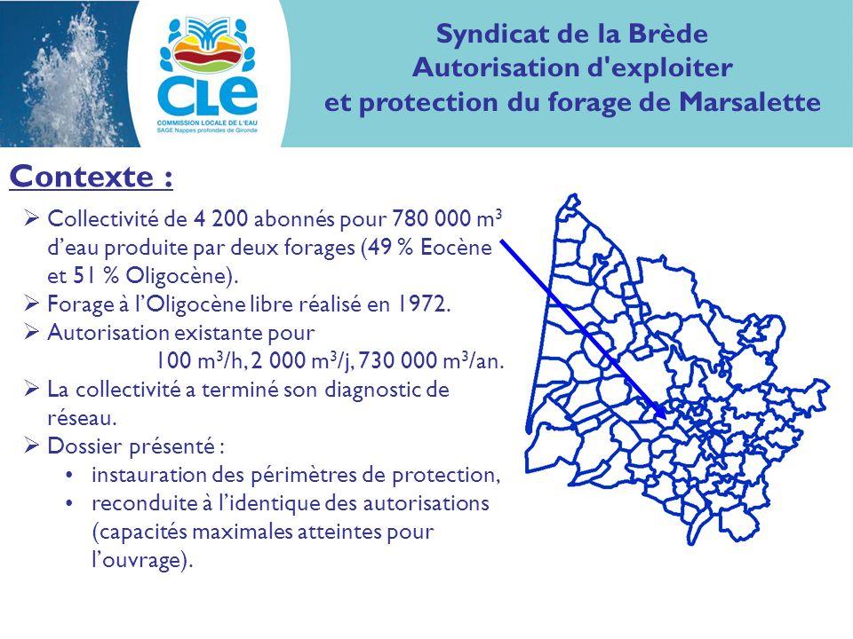 Contexte : Collectivité de 4 200 abonnés pour 780 000 m 3 deau produite par deux forages (49 % Eocène et 51 % Oligocène).
