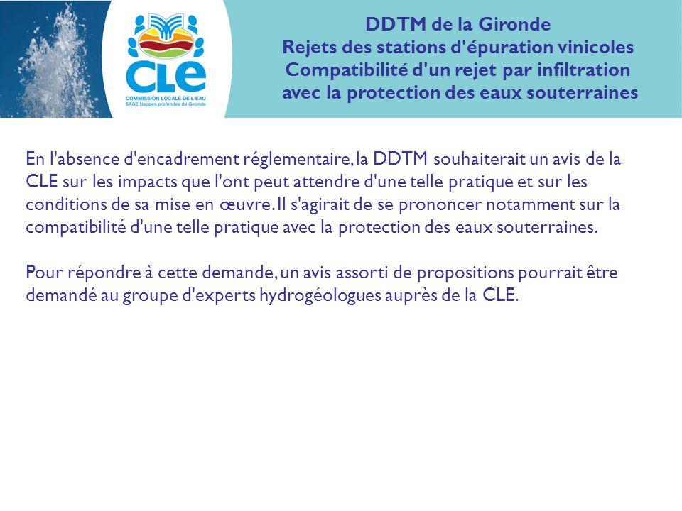 En l absence d encadrement réglementaire, la DDTM souhaiterait un avis de la CLE sur les impacts que l ont peut attendre d une telle pratique et sur les conditions de sa mise en œuvre.