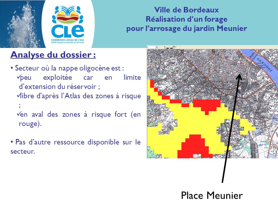 Analyse du dossier : Secteur où la nappe oligocène est : peu exploitée car en limite dextension du réservoir ; libre daprès lAtlas des zones à risque ; en aval des zones à risque fort (en rouge).