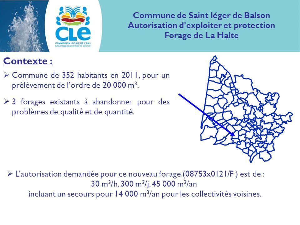 Contexte : Commune de 352 habitants en 2011, pour un prélèvement de lordre de 20 000 m 3.