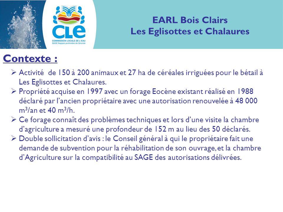 Contexte : EARL Bois Clairs Les Eglisottes et Chalaures Contexte : Activité de 150 à 200 animaux et 27 ha de céréales irriguées pour le bétail à Les Eglisottes et Chalaures.