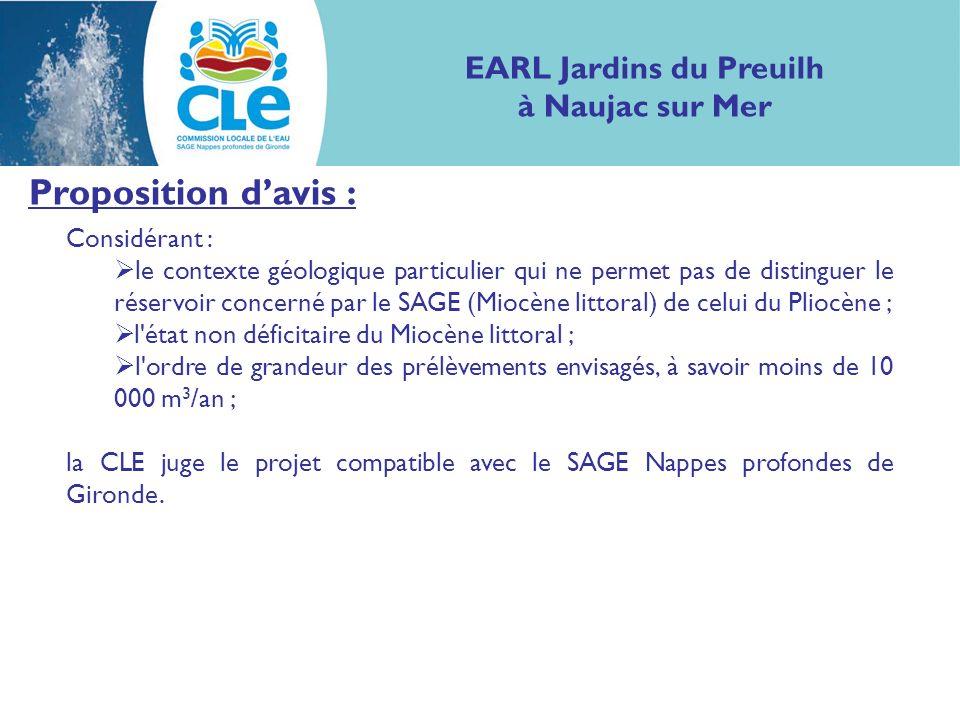Proposition davis : Considérant : le contexte géologique particulier qui ne permet pas de distinguer le réservoir concerné par le SAGE (Miocène littor